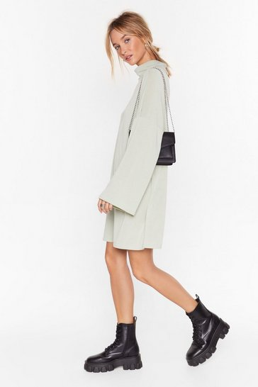 Sage My Soft Side Turtleneck Mini Dress