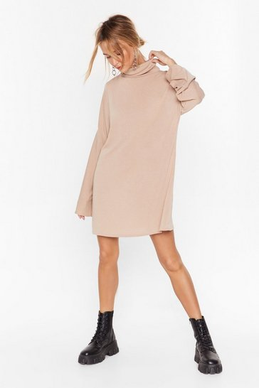 Stone My Soft Side Turtleneck Mini Dress