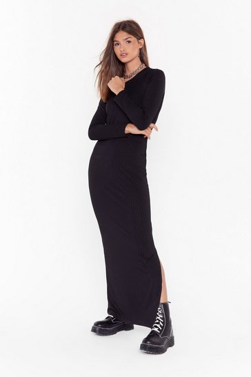 Womens Black Slit or Miss Ribbed Maxi Dress