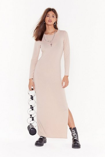 Womens Stone Slit or Miss Ribbed Maxi Dress