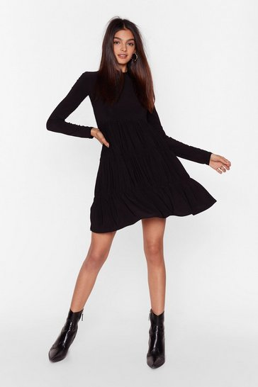 Black Now That You're Tier High Neck Mini Dress
