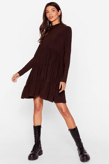 Chocolate Now That You're Tier High Neck Mini Dress