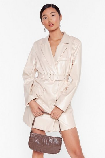 Stone Faux Leather Too Busy Blazer Mini Dress