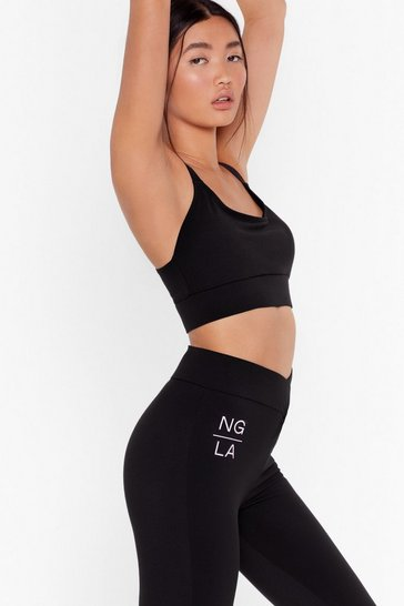Black Work It Out Racerback Workout Crop Top