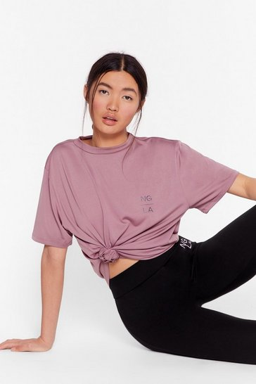 Mauve Recycled You Sweat Ya Workout Relaxed Tee