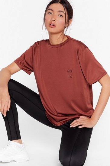Tan Recycled You Sweat Ya Workout Relaxed Tee
