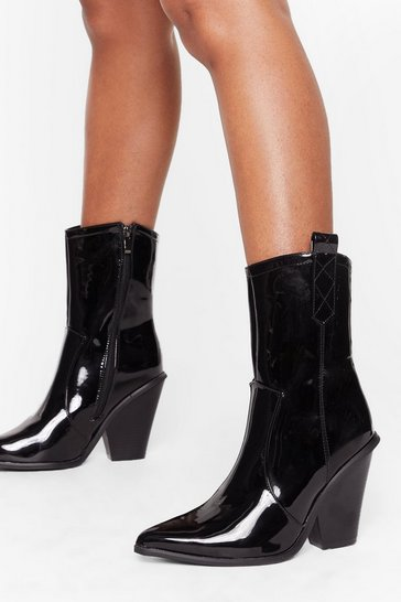 Womens Black Got This on Vinyl Western High Ankle Boots