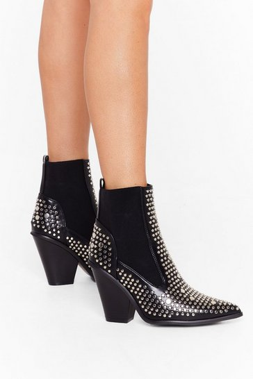 Black Stud For You Faux Leather Chelsea Boots