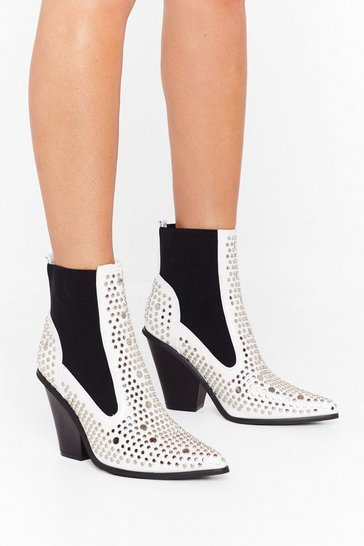 White Stud For You Faux Leather Chelsea Boots