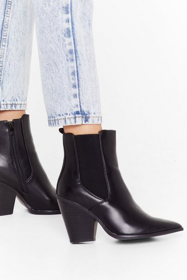 Black You've Gotta Point Faux Leather Chelsea Boots