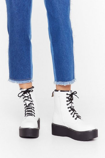 Womens White Cold Feet Faux Leather Platform Boots