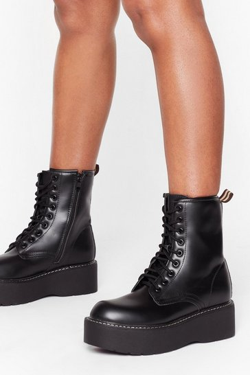 Womens Black Lace-Up to Somethin' Faux Leather Platform Boots