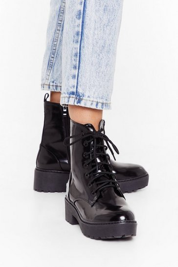 Black Stomp Your Feet Patent Hiker Boots