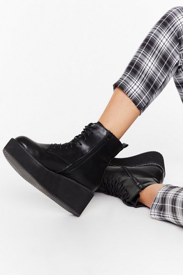 Black Cold Feet Faux Leather Platform Boots