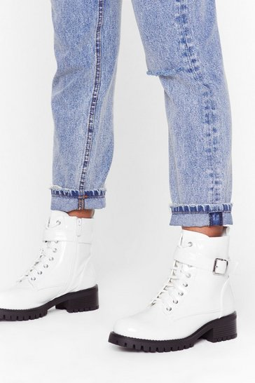 White Buck-le You Patent Faux Leather Boots