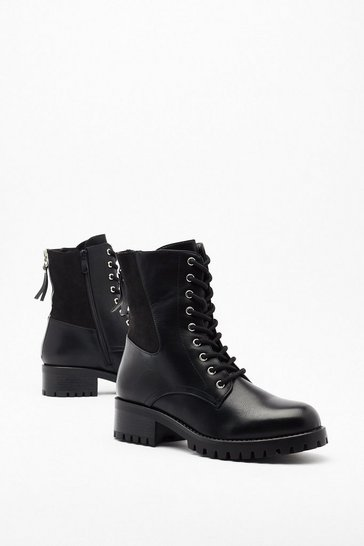 Black Pu Suede Panel Lace Up Biker Boots