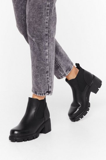 Black Stroll On Faux Leather Cleated Boots
