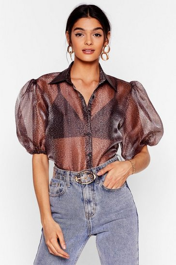 Brown Prowl About No Leopard Organza Blouse