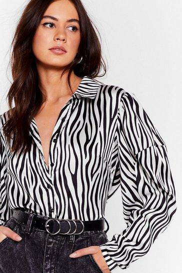 White Herd 'Em Say Satin Zebra Shirt