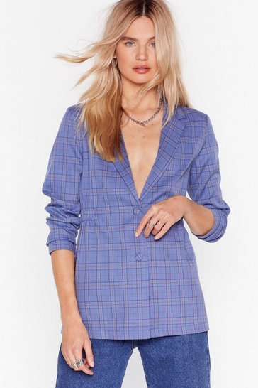 Blue Double Check It Tailored Blazer