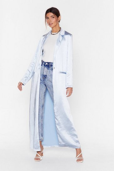 Womens Baby blue Everyday of the Sleek Satin Duster Jacket