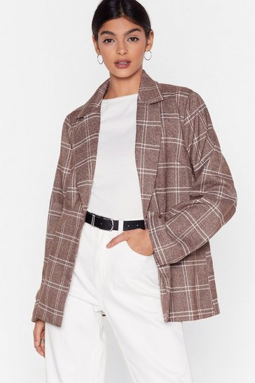 Brown Grid I Forget to Mention Oversized Check Blazer