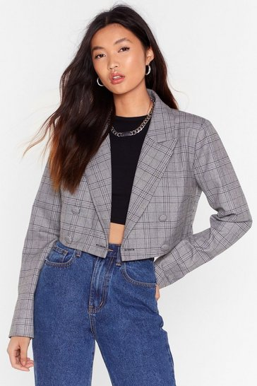 Grey Risky Business Check Double Breasted Blazer