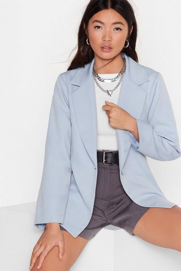 Pale blue I Wish I Flared Sleeve Button-Down Blazer
