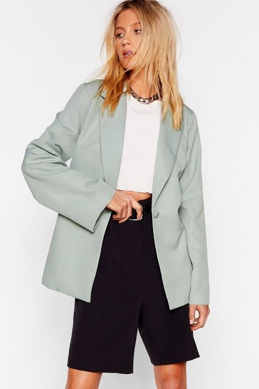 Womens Sage I Wish I Flared Sleeve Button-Down Blazer