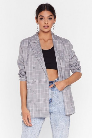 Black How Grid You Guess Check Cropped Blazer