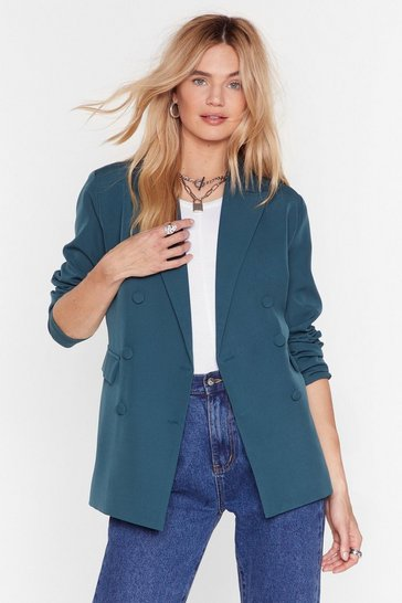 Green We Mean Business Double Breasted Blazer