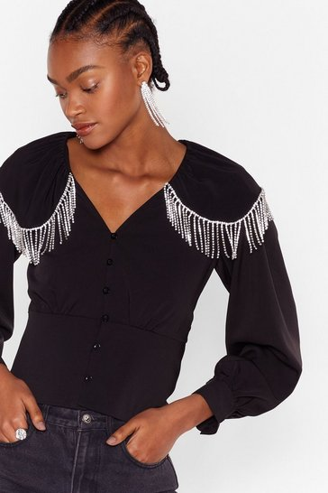 Black Break the Ice Diamante Button-Down Blouse