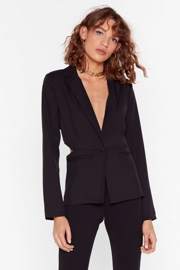 Black Cut-Out Tonight Tailored Blazer