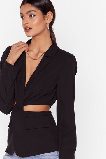Black Cut-Out of Office Twist Blazer