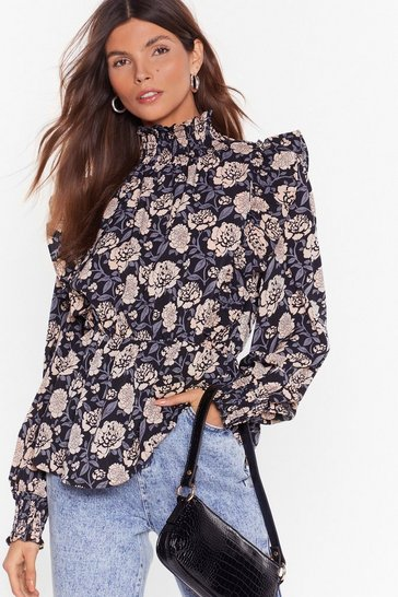 Black Nothing Bud Flowers Floral Puff Shoulder Blouse