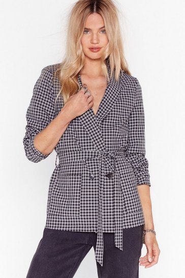 Black Hear You're Doin' Line Belted Check Blazer