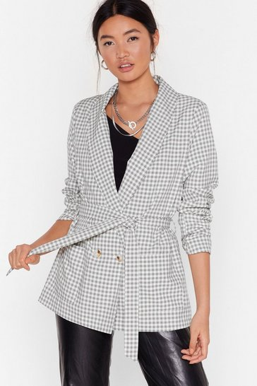 White Hear You're Doin' Line Belted Check Blazer