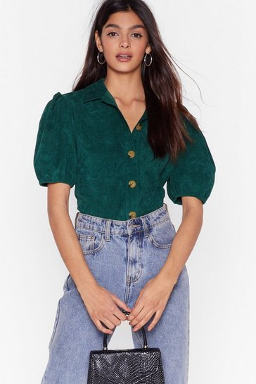 Bottle green Cord-uroy of You Puff Sleeve Shirt