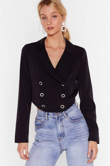 Black Nine to Five Cropped Double Breasted Blazer