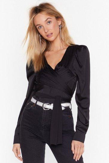 Black V-Neckline Satin Blouse in Drape Design