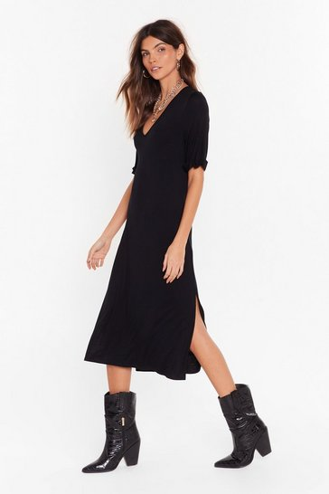 Black You Belong With V Tee Midi Dress
