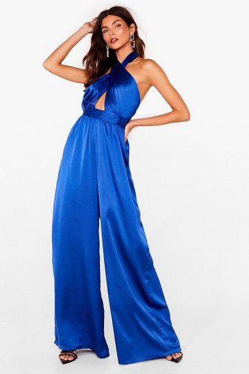 Blue Let her Dance Satin Halter Jumpsuit