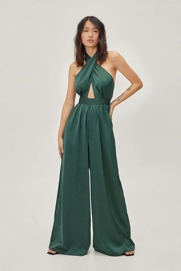 Green Let her Dance Satin Halter Jumpsuit