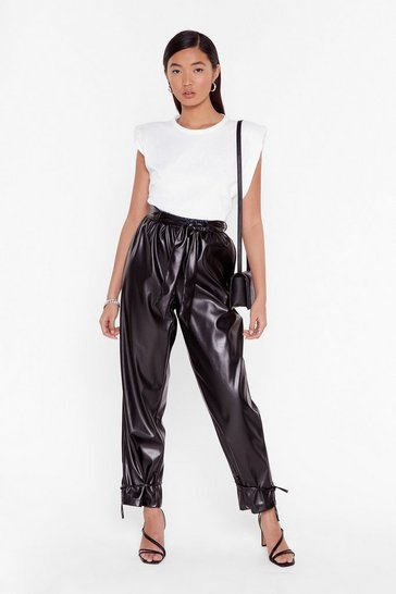 Black Tie 'Em Down Faux Leather High-Waisted Pants