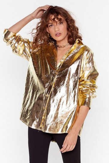Gold Ain't Sheen Nothing Metallic Relaxed Shirt