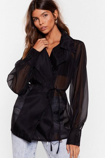Black New 'Round Sheer Organza Wrap Blouse