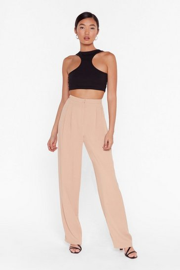 Womens Stone Put Your Back Into It High-Waisted Wide-Leg Pants