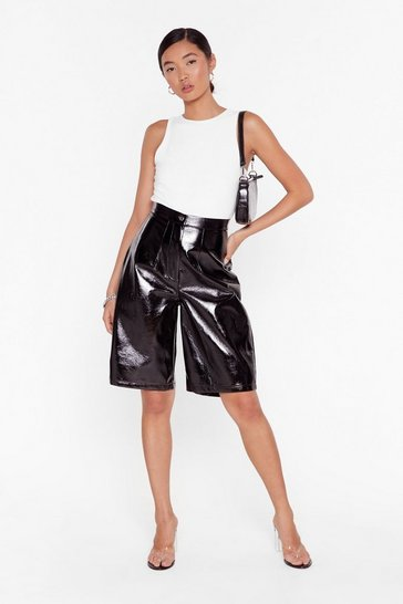 Black It's Been too Longline Vinyl High-Waisted Shorts