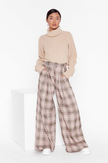 Beige Ticking the Boxes Wide-Leg Check Pants