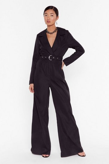 Black Put in a Little Work Belted Wide-Leg Jumpsuit